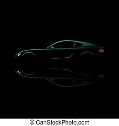 Green sport car silhouette with reflection.