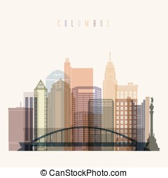 Columbus skyline poster. - Transparent style Columbus state...