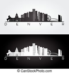 Denver skyline silhouette. - Denver USA skyline and...