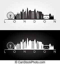 London skyline silhouette.