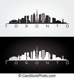 Toronto skyline silhouette. - Toronto skyline and landmarks...