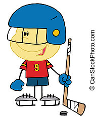 Caucasian Boy Playing A Hockey - Little Caucasian Boy...
