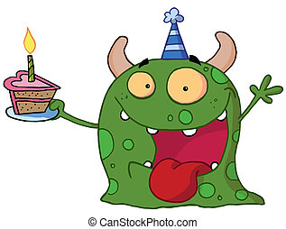 Happy monster Birthdays - Spotted Green Birthday Monster...