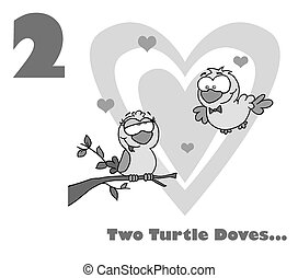 Number Two Over Two Turtle Doves - Black And White Number...