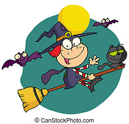 Happy Halloween Witch And Cat Flying Through Bats On A Broom...