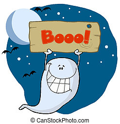 Ghost Holding Up A Wooden Boo Sign - Grinning Ghost Holding...