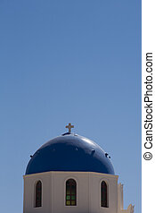 18th century church and its distinctive blue domed tower -...