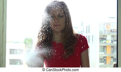 cheerful girl woman spraying chemical and washing window.....