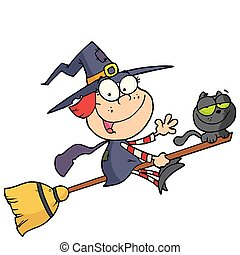 Halloween little witch - Cartoon character halloween little...