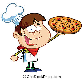 Little Pizza Boy Chef Displaying His Perfect Pepperoni Pizza...