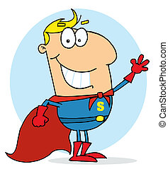 Blond Cartoon Super Hero Waving Man - Cartoon Super Hero...