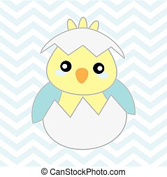 Baby shower illustration with cute blue baby chick on...