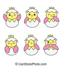 Baby shower illustration with cute pink baby chicks suitable...