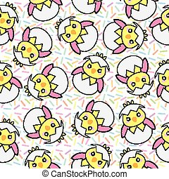 Seamless background of Easter illustration with cute pink baby chick on sprinkles background