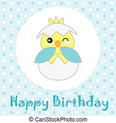 Birthday illustration with cute blue baby chick on polka dot...