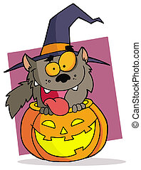 Happy Werewolf Popping Out Of A Carved Halloween Pumpkin On...