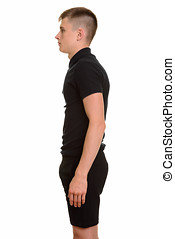 Profile view of young Caucasian man