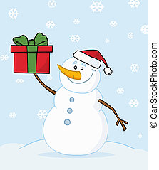 Snowman Holding A Christmas Present