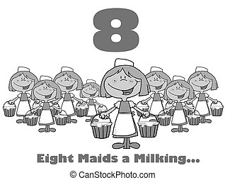 Number Eight And Text - Black And White Number Eight And...