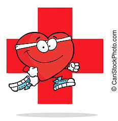 Red Heart Jogging Over A Red Cross