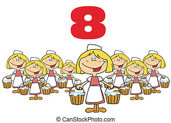Red Number Eight Over Eight Maids
