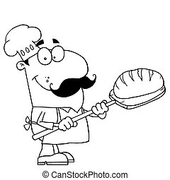 Outlined Bread Cook - Clipart Illustration of an Outlined...