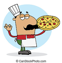 Hispanic Chef Man Showing Pizza - Pleased Hispanic Pizza...