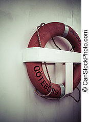 Life buoy on boat in Goteborg, Sweden.