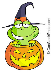Halloween frog - Happy Frog In A Carved Halloween Pumpkin