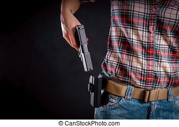 pistola, mujer, toma, pistolera, afuera