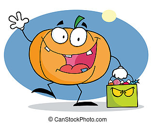 Cartoon character pumkin with bag - Waving Pumpkin Character...