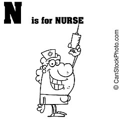 Outlined Nurse With Letters N