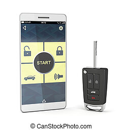 Smartphone and car key - Smartphone with car control app and...