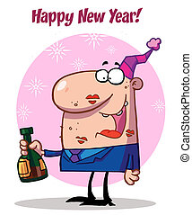 Man Celebrating Happy New Year - Happy New Year Greeting Of...