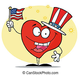 Patriotic American Heart Character In A Hat Flag On...