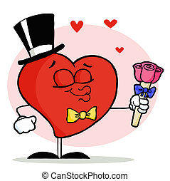Heart in a hat and bow tie
