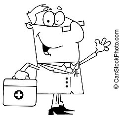 Outlined Doctor Man Carrying His First Aid Bag