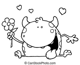Outlined Toad Holding a Flower