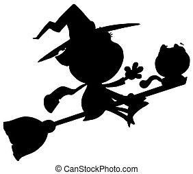 Silhouette Of A Flying Witch - Solid Black Silhouette Of A...