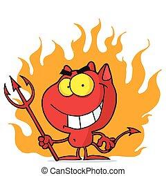 vermelho, dia das bruxas, diabo, com, fogo, e, Um