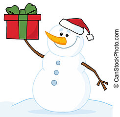 Snowman Holding A Christmas Gift