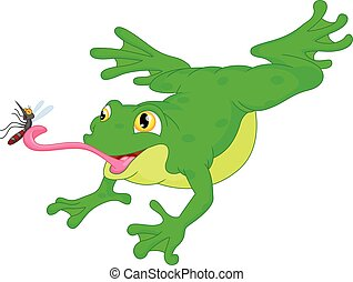 Green frog catching a mosquito cartoon - vector illustration...