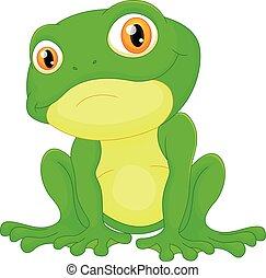 Green frog sitting cartoon - vector illustration of Green...