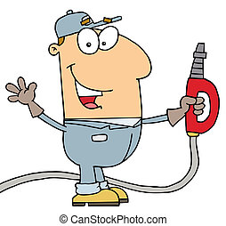 Gas Attendant Man - Caucasian Cartoon Gas Attendant Man