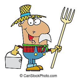Hispanic Farmer - Happy Hispanic Farmer Man Carrying A Rake...