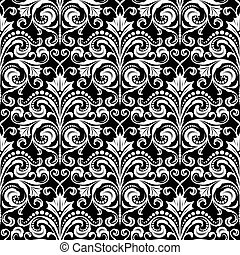 Damask black and white pattern