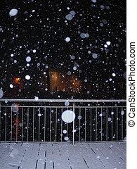 snowfall in the city at night - Snowfall at night street...
