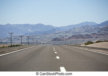 Straight Route 40 and mountains, North of Argentina - The...