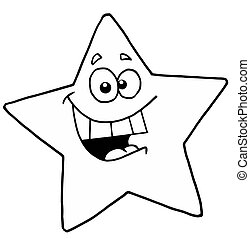 Outlined Smiling Star - Black And White Energetic Yellow...