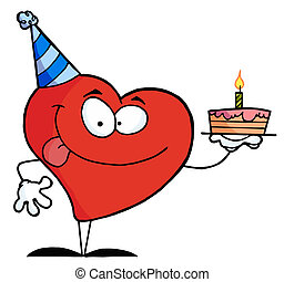 Red Heart Birthday Character Wearing A Hat And Holding A...